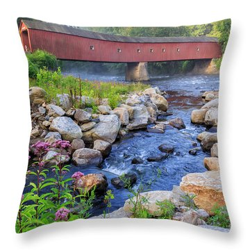 Throw Pillow featuring the photograph West Cornwall Covered Bridge Summer by Bill Wakeley