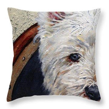 West Highland Terrier Dog Portrait Throw Pillow by Enzie Shahmiri