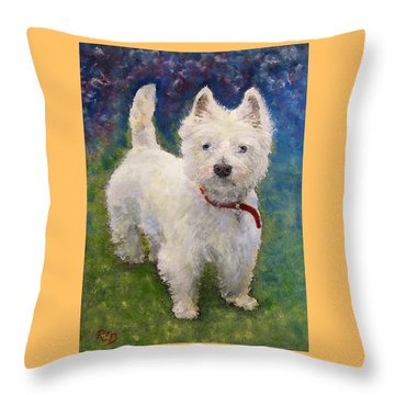 West Highland Terrier Holly Throw Pillow by Richard James Digance