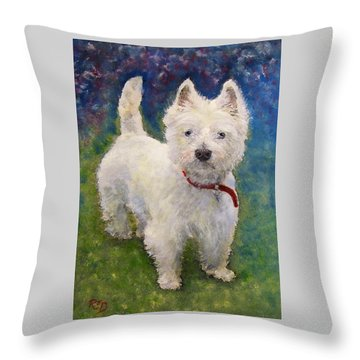 West Highland Terrier Holly Throw Pillow