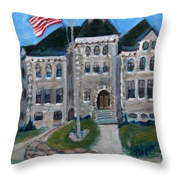 West Hill School In Canajoharie New York Throw Pillow by Betty Pieper
