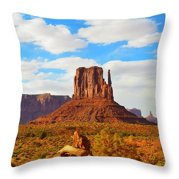 West Mitten At Monument Valley Throw Pillow by Debra Thompson