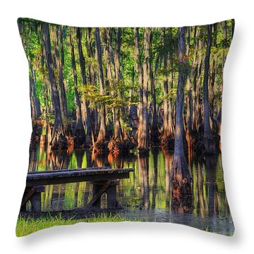 West Monroe Swamp Dock Throw Pillow by Ester  Rogers