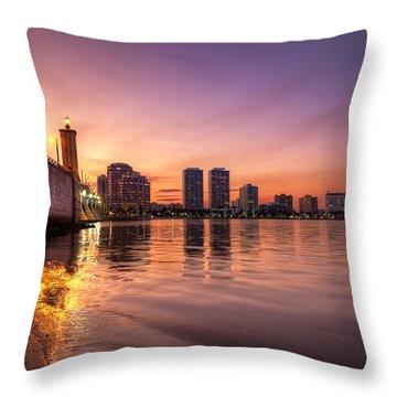 West Palm Beach Skyline At Dusk Throw Pillow