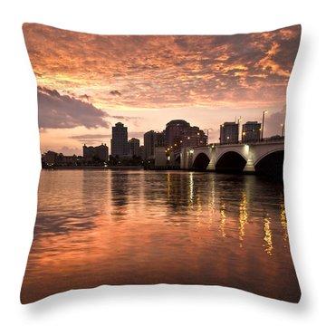 West Palm Beach Skyline At Sunset Throw Pillow