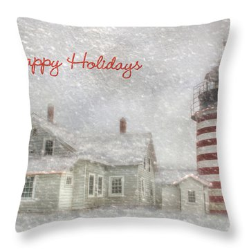 West Quoddy Christmas Throw Pillow by Lori Deiter