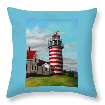 West Quoddy Head Lighthouse Throw Pillow by Eileen Patten Oliver