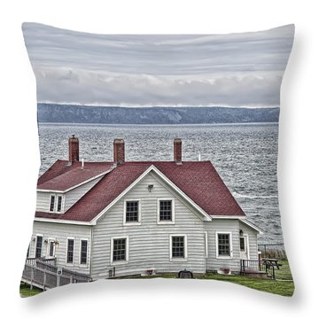Throw Pillow featuring the photograph West Quoddy Head Lighthouse by Richard Bean