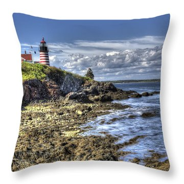 West Quoddy Lubec Maine Lighthouse Throw Pillow by Shawn Everhart