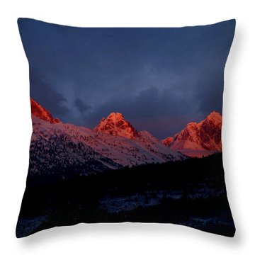 Throw Pillow featuring the photograph West Side Teton Sunset by Raymond Salani III