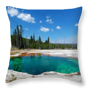West Thumb Abyss Pool Throw Pillow by Debra Thompson