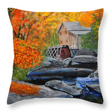 West Virginia Grist Mill Throw Pillow by William Tremble