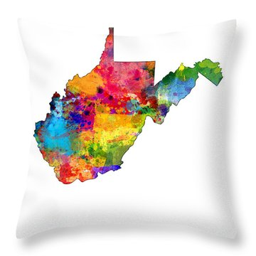 West Virginia Map Throw Pillow