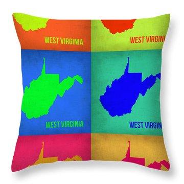 West Virginia Pop Art Map 1 Throw Pillow by Naxart Studio