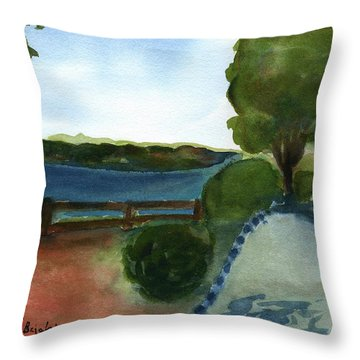 Throw Pillow featuring the painting West Virginia View  by Frank Bright