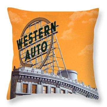 Western Auto Sign Artistic Sky Throw Pillow