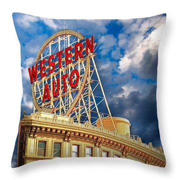 Western Auto Sign Downtown Kansas City Throw Pillow