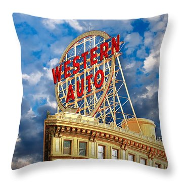 Western Auto Sign Downtown Kansas City Throw Pillow