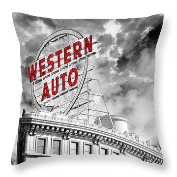 Western Auto Sign Downtown Kansas City B W Throw Pillow