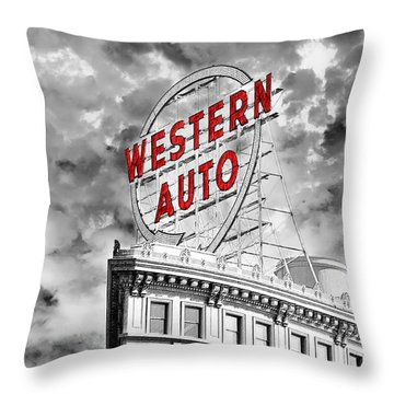 Western Auto Sign Downtown Kansas City B W Throw Pillow by Andee Design