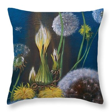 Throw Pillow featuring the painting Western Goat's Beard Weed by Sharon Duguay