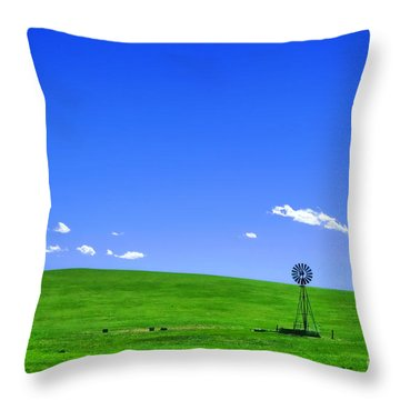 Western Hill  Throw Pillow by Olivier Le Queinec
