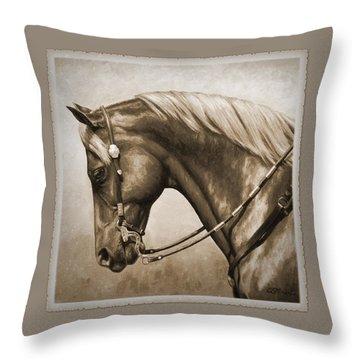 Western Horse Aged Photo Fx Sepia Pillow Throw Pillow