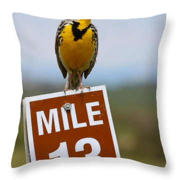 Western Meadowlark On The Mile 13 Sign Throw Pillow by Karon Melillo DeVega