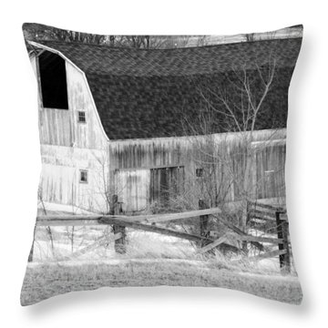Western New York Farm 1 In Black And White Throw Pillow by Tracy Winter