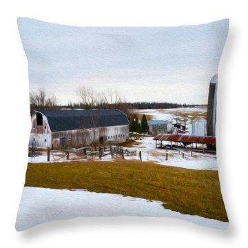 Western New York Farm As An Oil Painting Throw Pillow