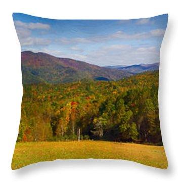 Western North Carolina Horses And Mountains Panorama Throw Pillow