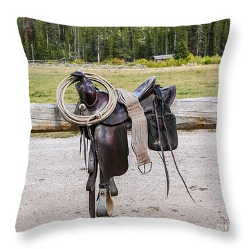 Western Saddle And Gear Throw Pillow