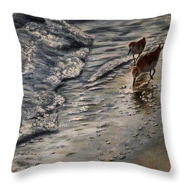 Western Sandpiper Throw Pillow by Carol Oberg Riley