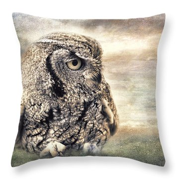 Western Screech Owl Throw Pillow by Barbara Manis