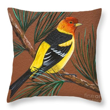 Throw Pillow featuring the painting Western Tanager by Jennifer Lake