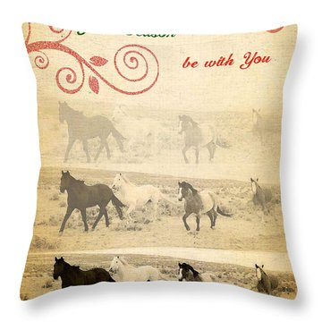 Western Themed Christmas Card Wyoming Spirit Throw Pillow