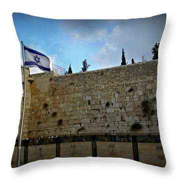 Western Wall And Israeli Flag Throw Pillow by Stephen Stookey