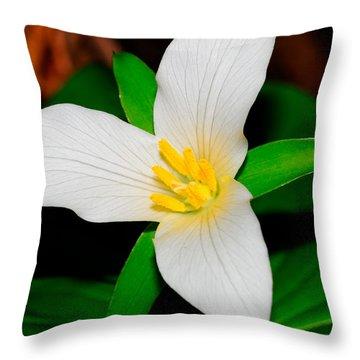 Western White Trillium Throw Pillow by Bonnie Fink