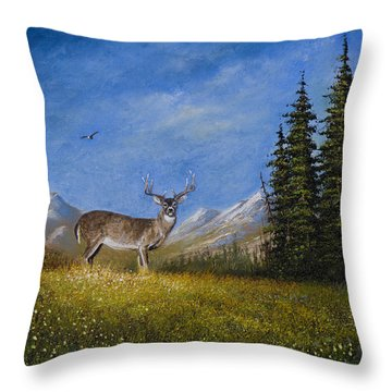 Western Whitetail Throw Pillow by C Steele