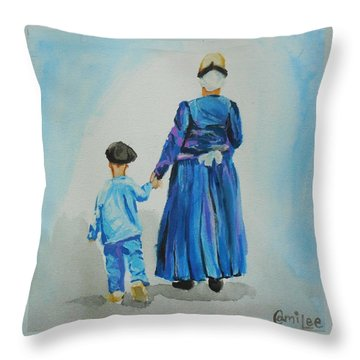 Westfriese Woman And Boy Throw Pillow