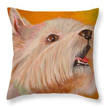 Westie Portrait Throw Pillow by Tracey Harrington-Simpson