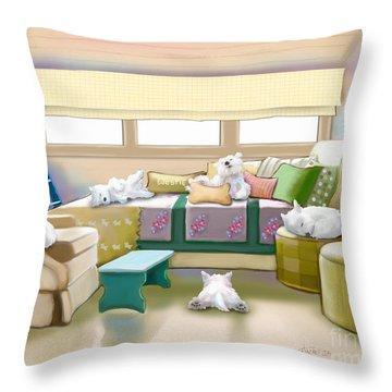 Westie Retreat  Throw Pillow by Catia Cho
