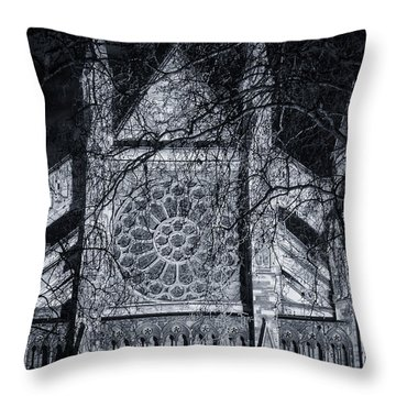 Westminster Abbey North Transept Throw Pillow by Joan Carroll