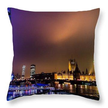 Westminster And Eye Night Glow Throw Pillow by Matt Malloy