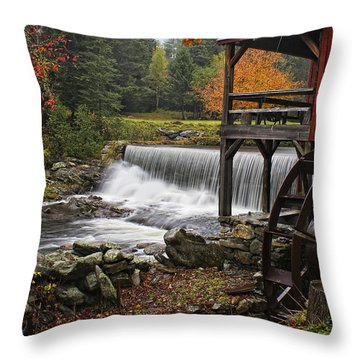 Weston Grist Mill Throw Pillow by Priscilla Burgers