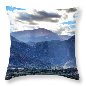 Westside Colorado Springs Throw Pillow by Clarice  Lakota