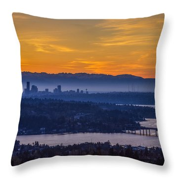 Throw Pillow featuring the photograph Gateway To Seattle by Ken Stanback