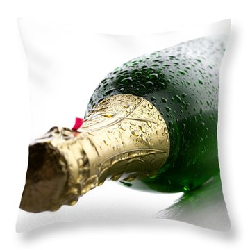 Wet Champagne Bottle Throw Pillow