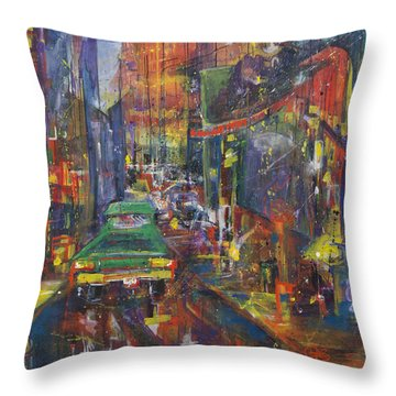 Wet China Lights Throw Pillow by Leela Payne