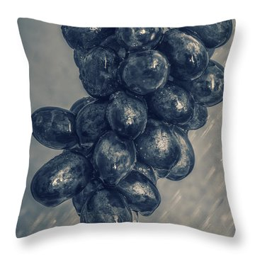 Wet Grapes Five Throw Pillow by Bob Orsillo